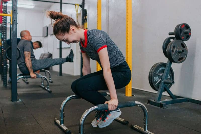 woman performing gym excercise